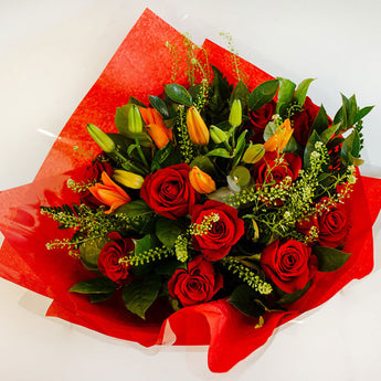Valentines Roses and Asiatic Lilies