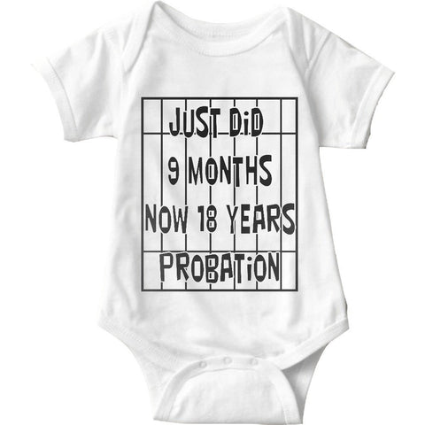 Just Did 9 Months Now 18 Years Probation White Baby Onesie | Sarcastic ME