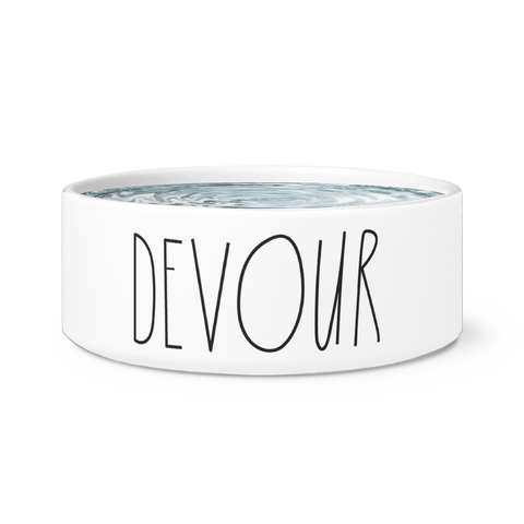 Devour White Pet Bowl | Sarcastic ME