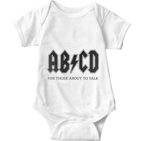 ABCD For Those About To Talk White Baby Onesie | Sarcastic Me