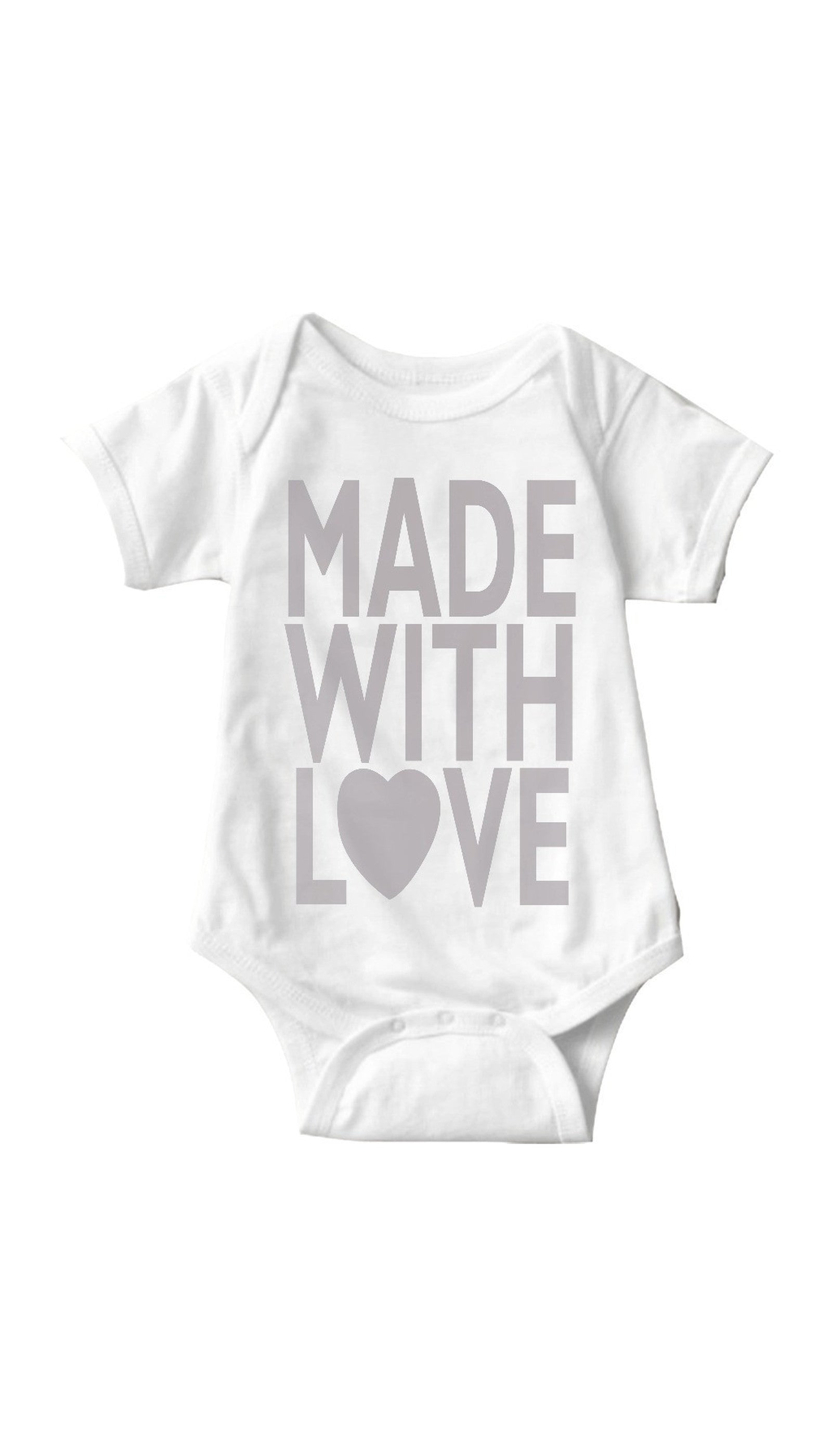 04c3ad67403 Made With Love White Baby Onesie