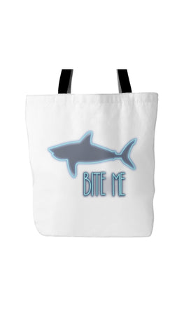 Bite Me Shark White Tote Bag | Sarcastic Me