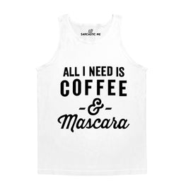 Coffee And Mascara White Unisex Tank Top | Sarcastic Me