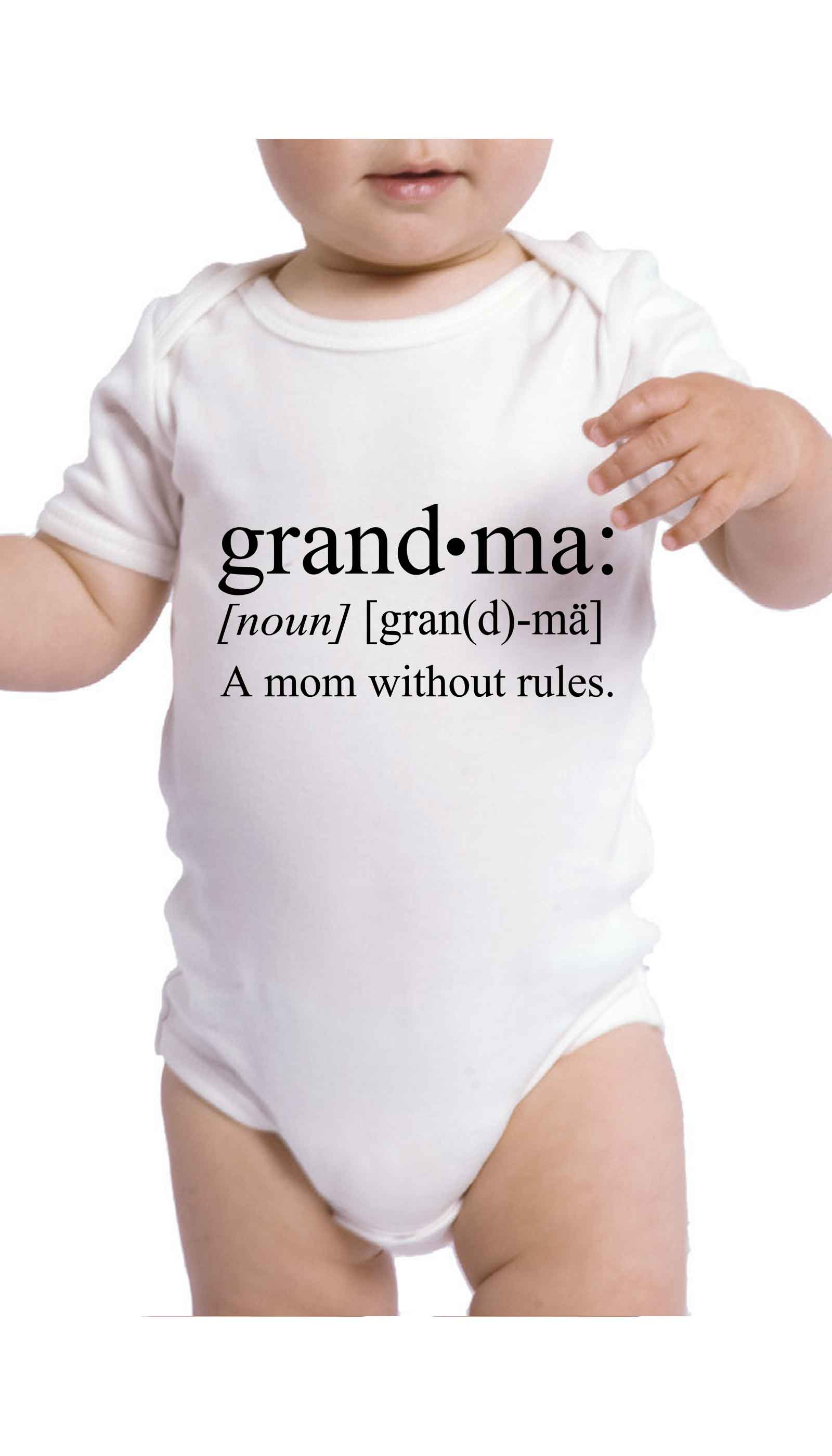 Grandma A Mom Without Rules Funny Baby Infant Onesie | Sarcastic ME