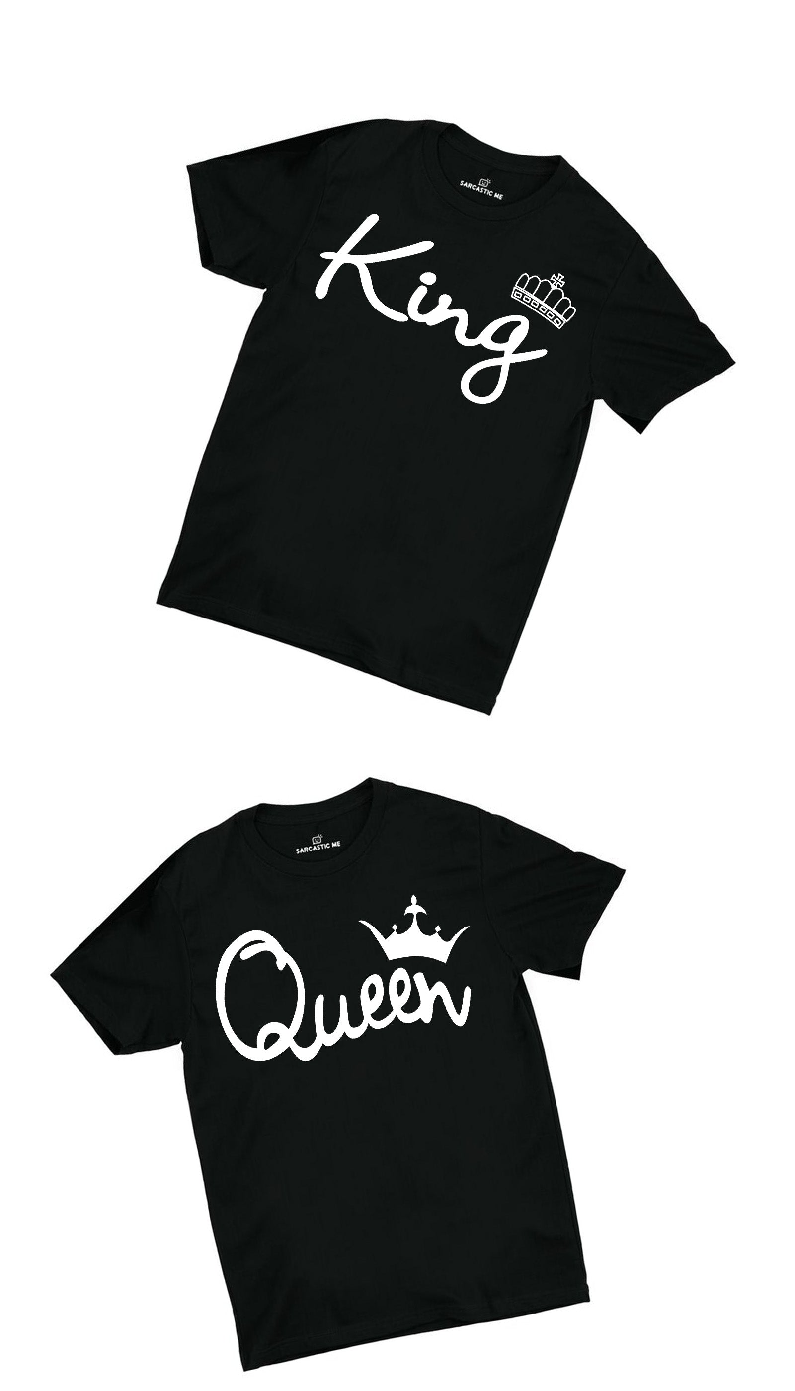King & Queen Black Couples T-shirt Set | Sarcastic ME