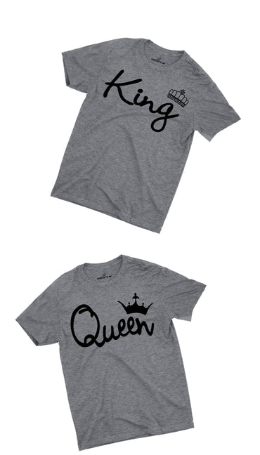 King & Queen Gray Couples T-shirt Set | Sarcastic ME