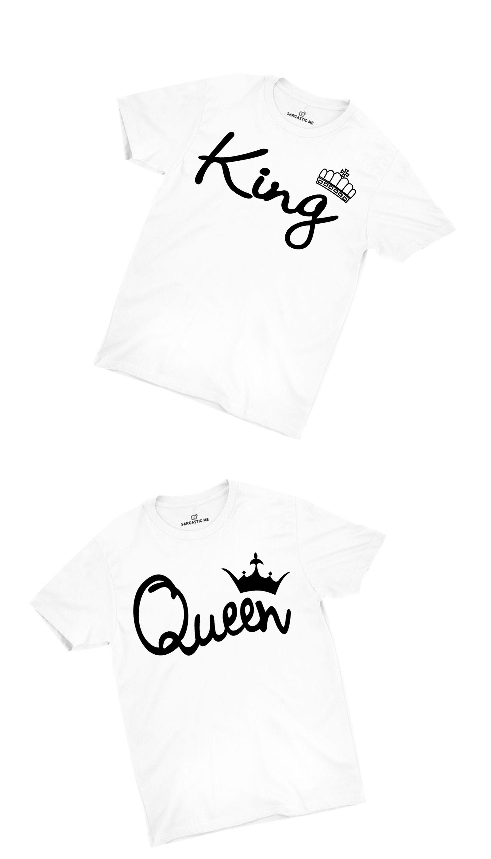King & Queen White Couples T-shirt Set | Sarcastic ME