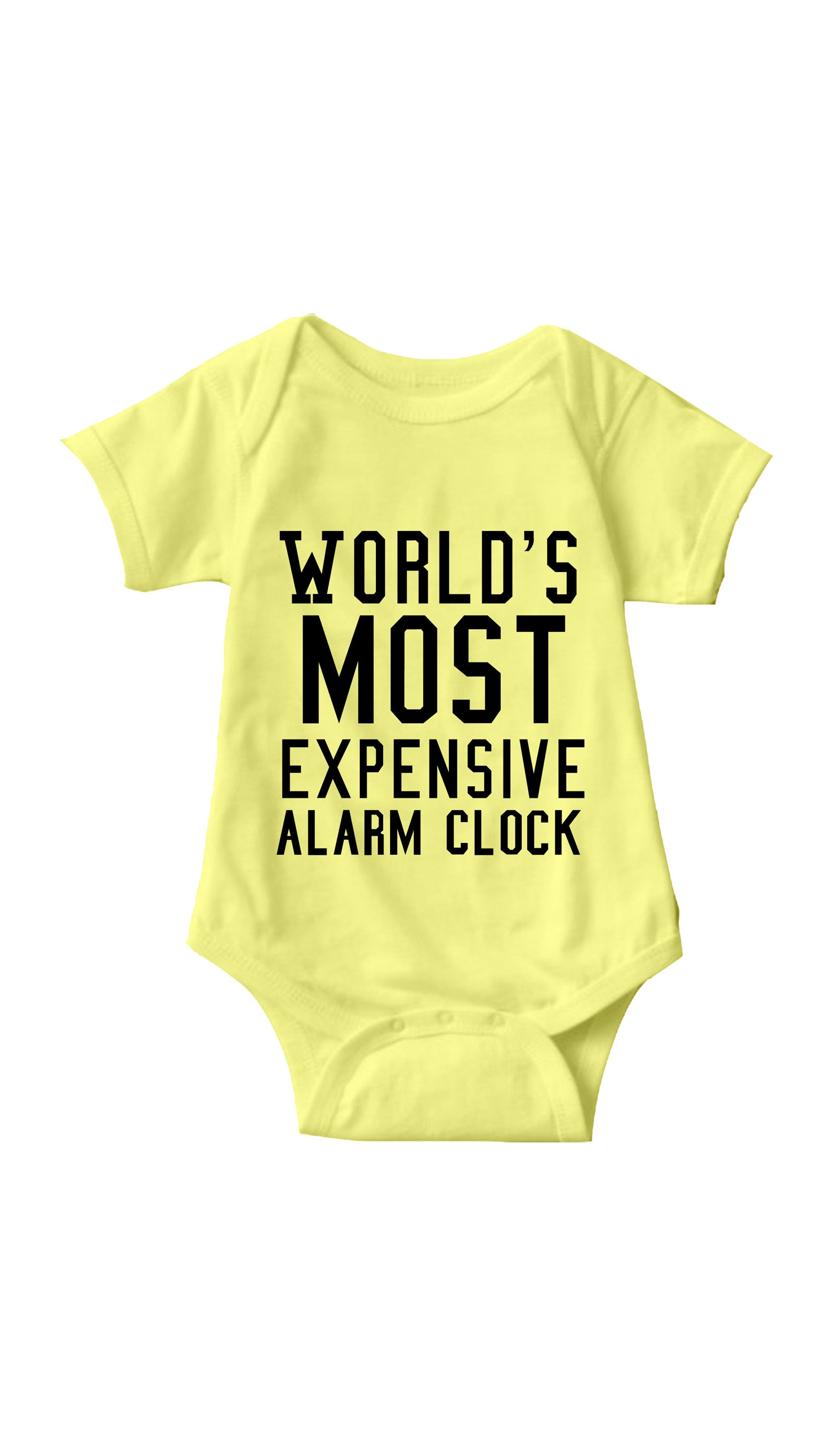 World's Most Expensive Alarm Clock Yellow Infant Onesie | Sarcastic ME