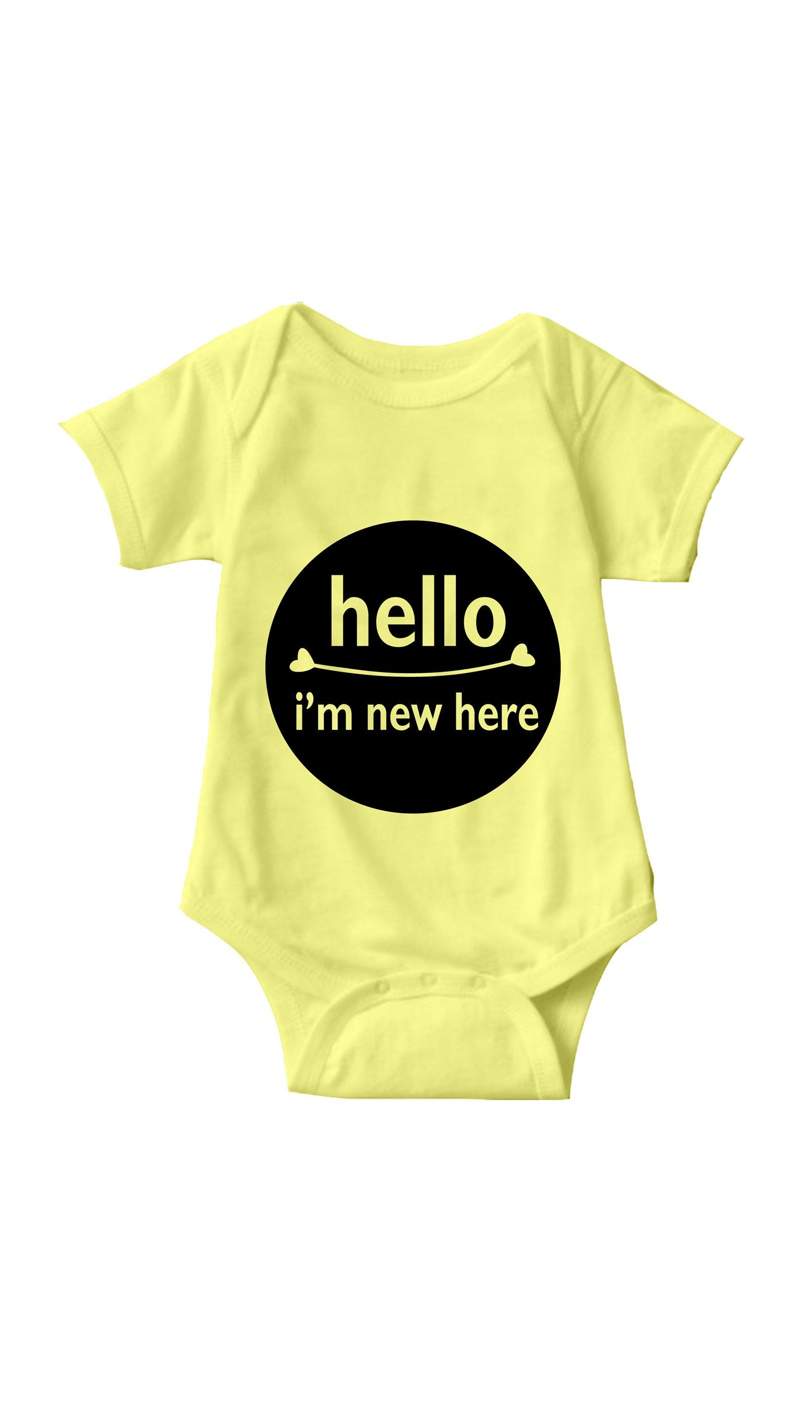 Hello I'm New Here Yellow Infant Onesie | Sarcastic ME