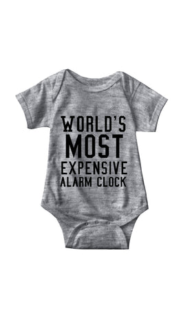World's Most Expensive Alarm Clock Gray Infant Onesie | Sarcastic ME