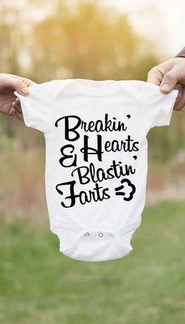 Breaking Hearts Blasting Farts Funny Baby Infant Onesie | Sarcastic ME