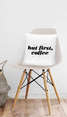 But First, Coffee Funny Home Throw Pillow