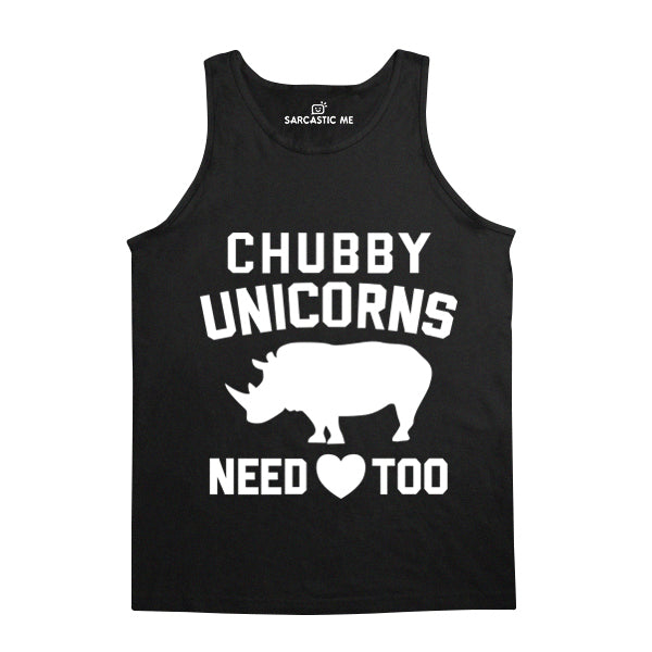 Chubby Unicorns Need Love Too Black Unisex Tank Top | Sarcastic Me