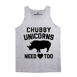 Chubby Unicorns Need Love Too Gray Unisex Tank Top | Sarcastic Me