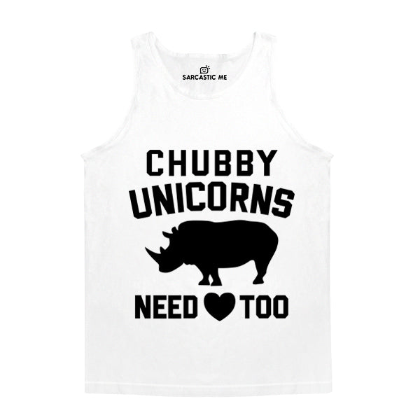Chubby Unicorns Need Love Too White Unisex Tank Top | Sarcastic Me
