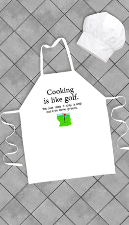 Cooking Is Like Golf Funny Kitchen Apron | Sarcastic Me