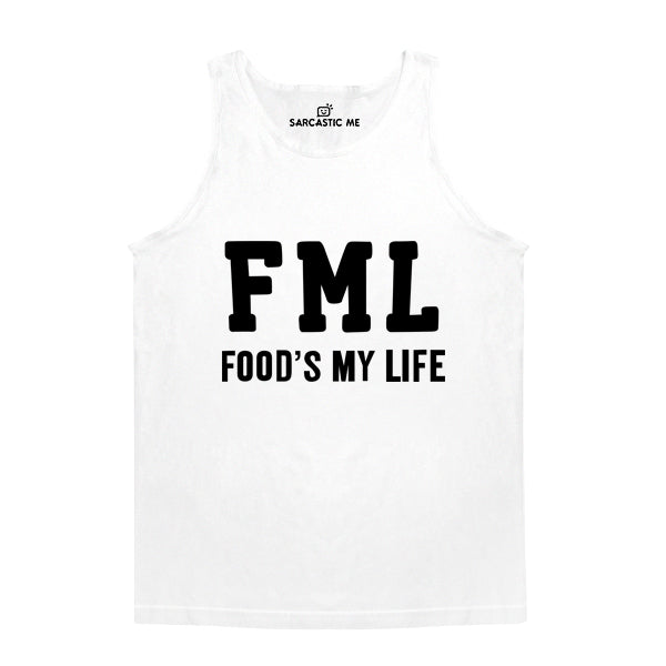 FML Food's My Life White Unisex Tank Top | Sarcastic Me