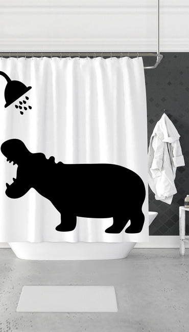 Funny Hippo Shadow Funny Dorm Shower Curtain Gift | Sarcastic ME