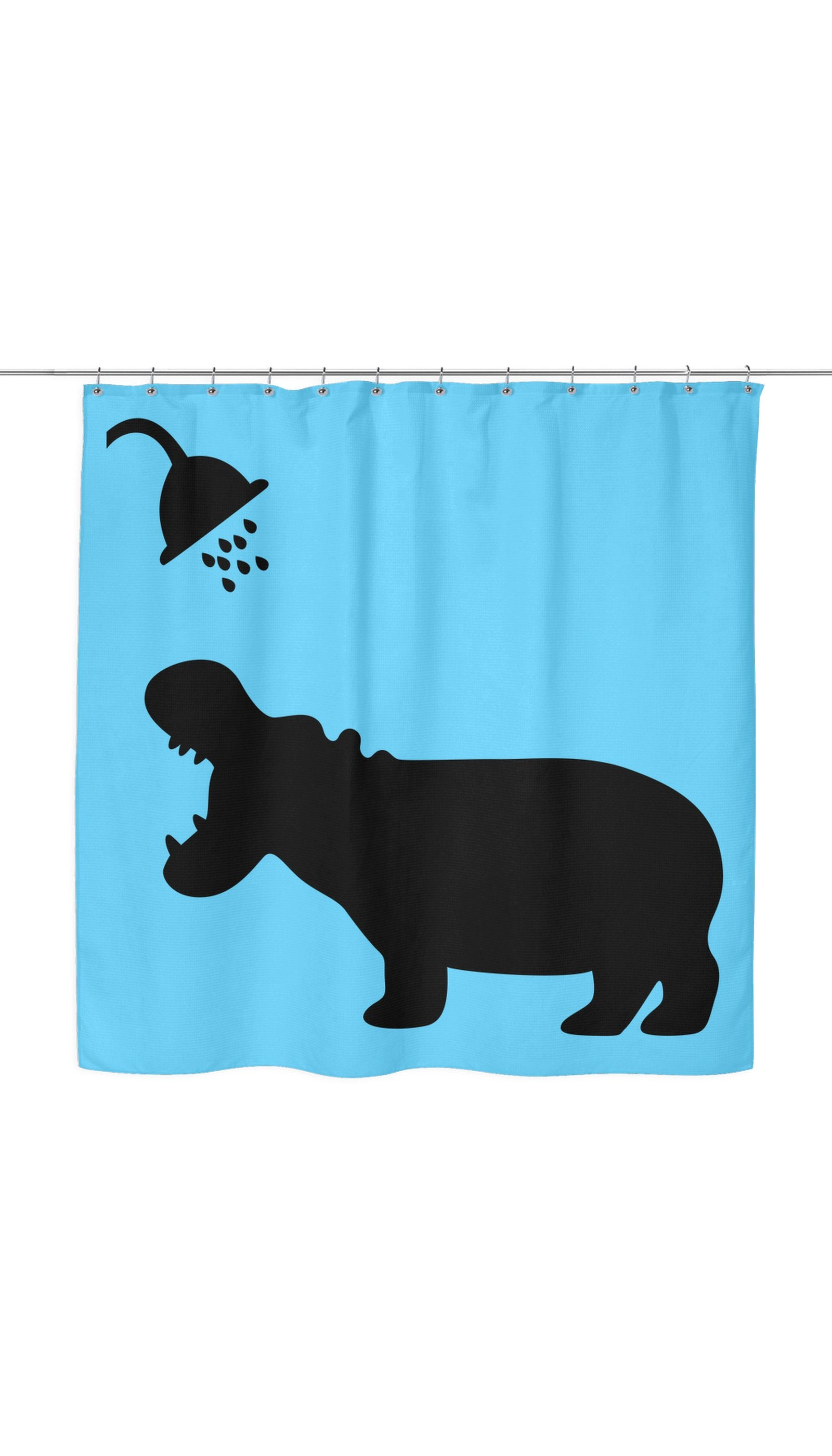 Funny Hippo Shadow Shower Curtain