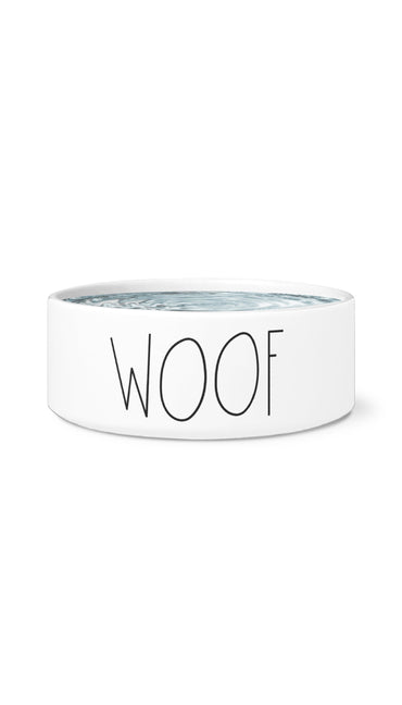 Woof White Pet Bowl | Sarcastic Me