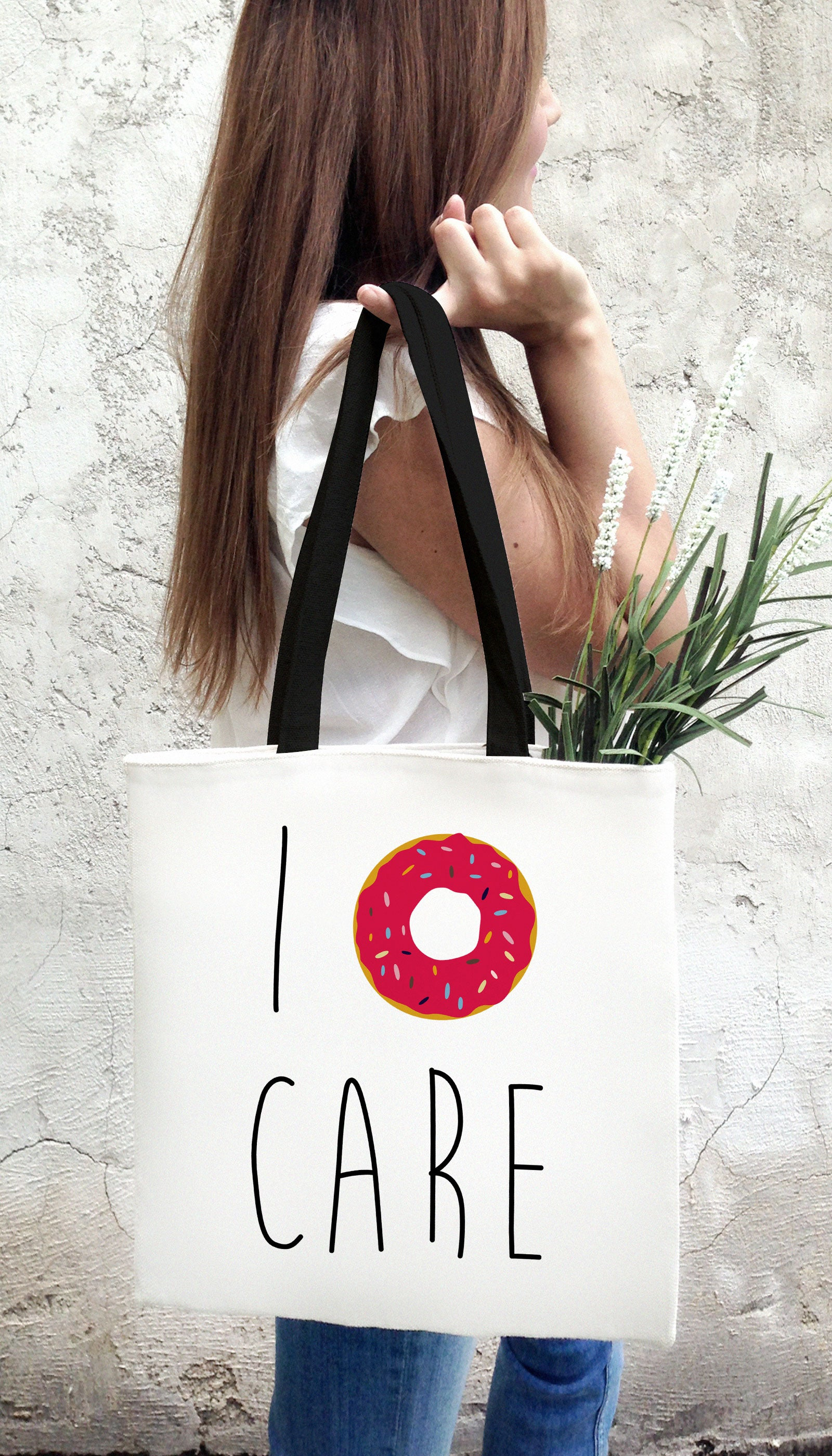 I Donut Care Funny & Clever Tote Bag Gift | Sarcastic ME