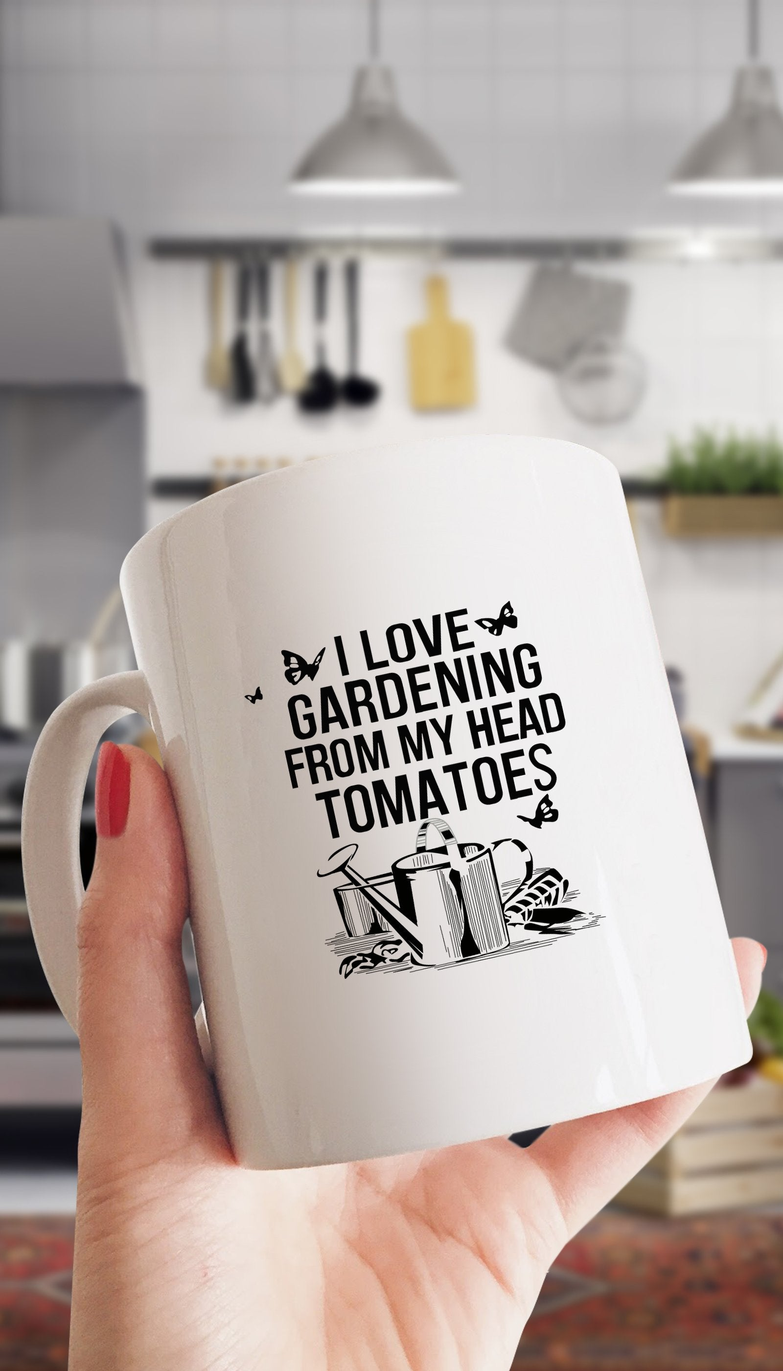 I Love Gardening From My Head Tomatoes White Mug | Sarcastic ME