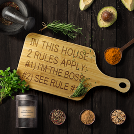 In This House 2 Rules Apply Funny Wood Cutting Board | Sarcastic Me