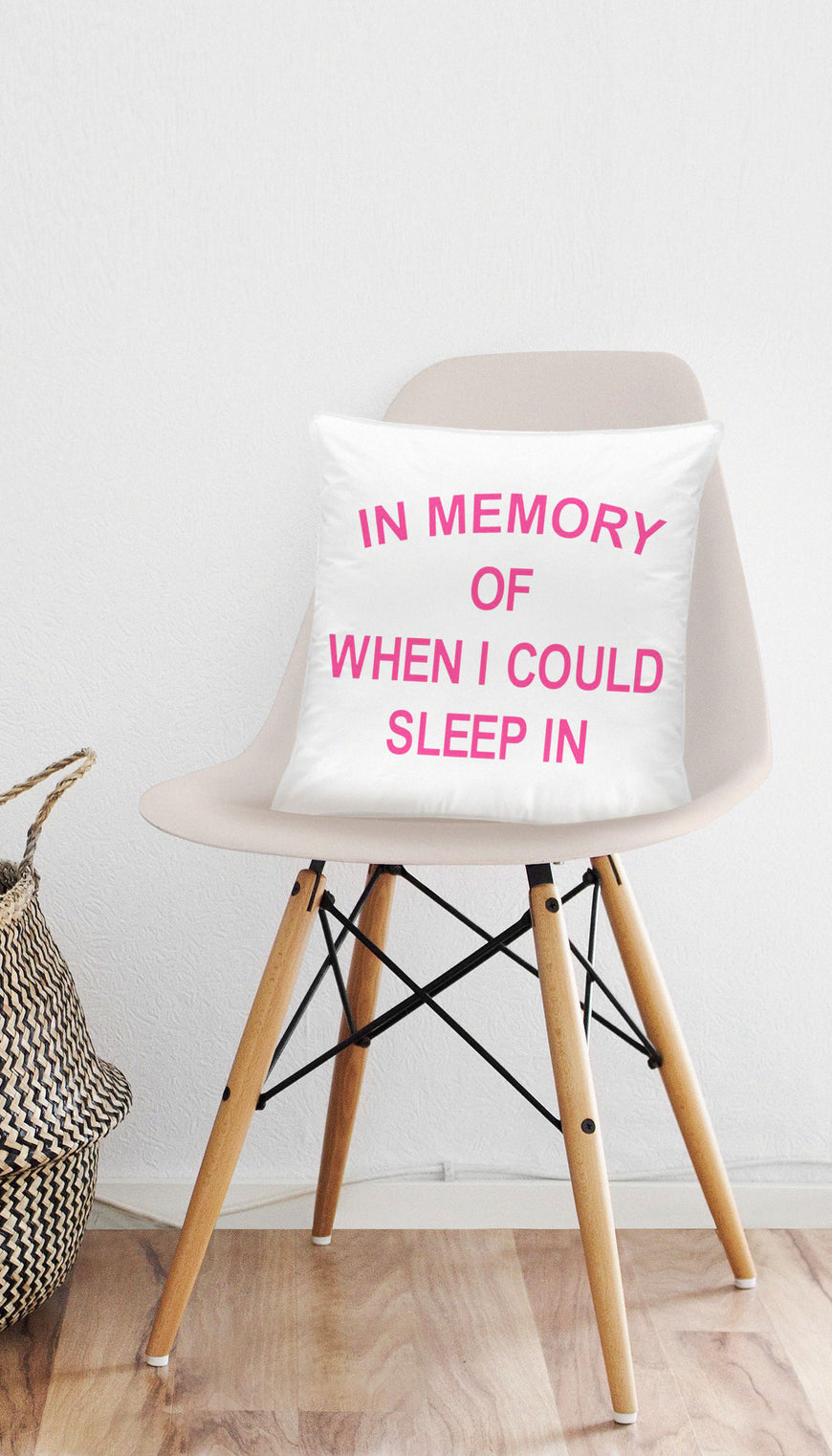 In Memory Of When I Could Sleep In Funny & Clever Home Throw Pillow Gift | Sarcastic ME