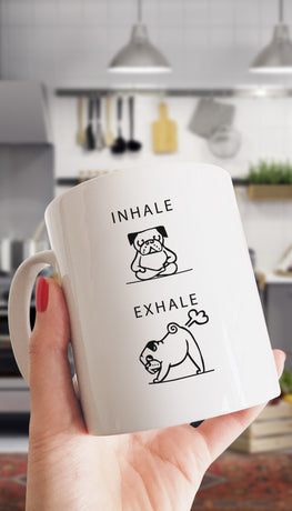 Inhale Exhale Farting Bulldog Funny & Clever Coffee Mug | Sarcastic ME