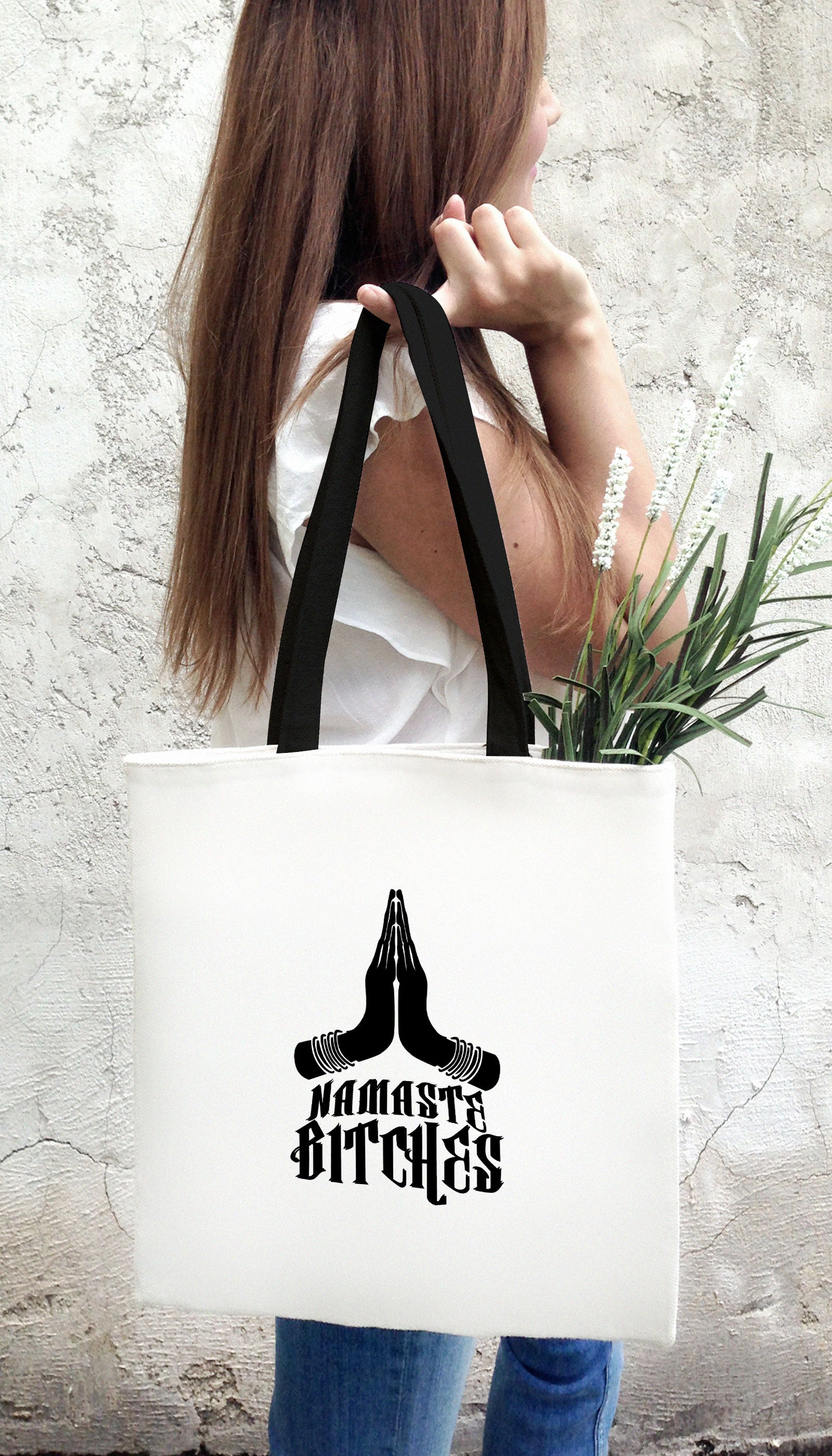 Namaste Bitches Funny & Clever Tote Bag Gift | Sarcastic ME