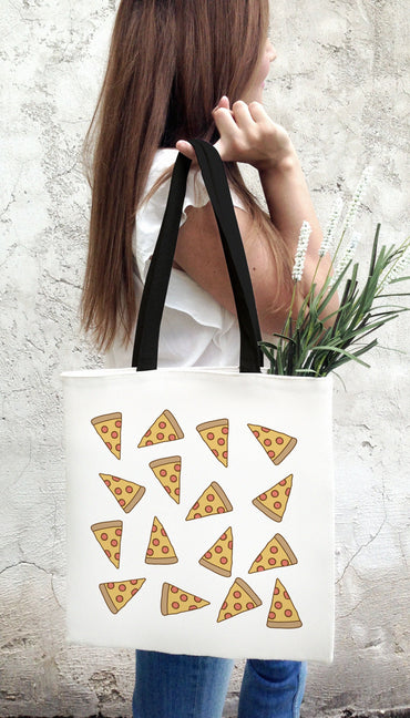 Pizza Emoji White Tote Bag | Sarcastic Me