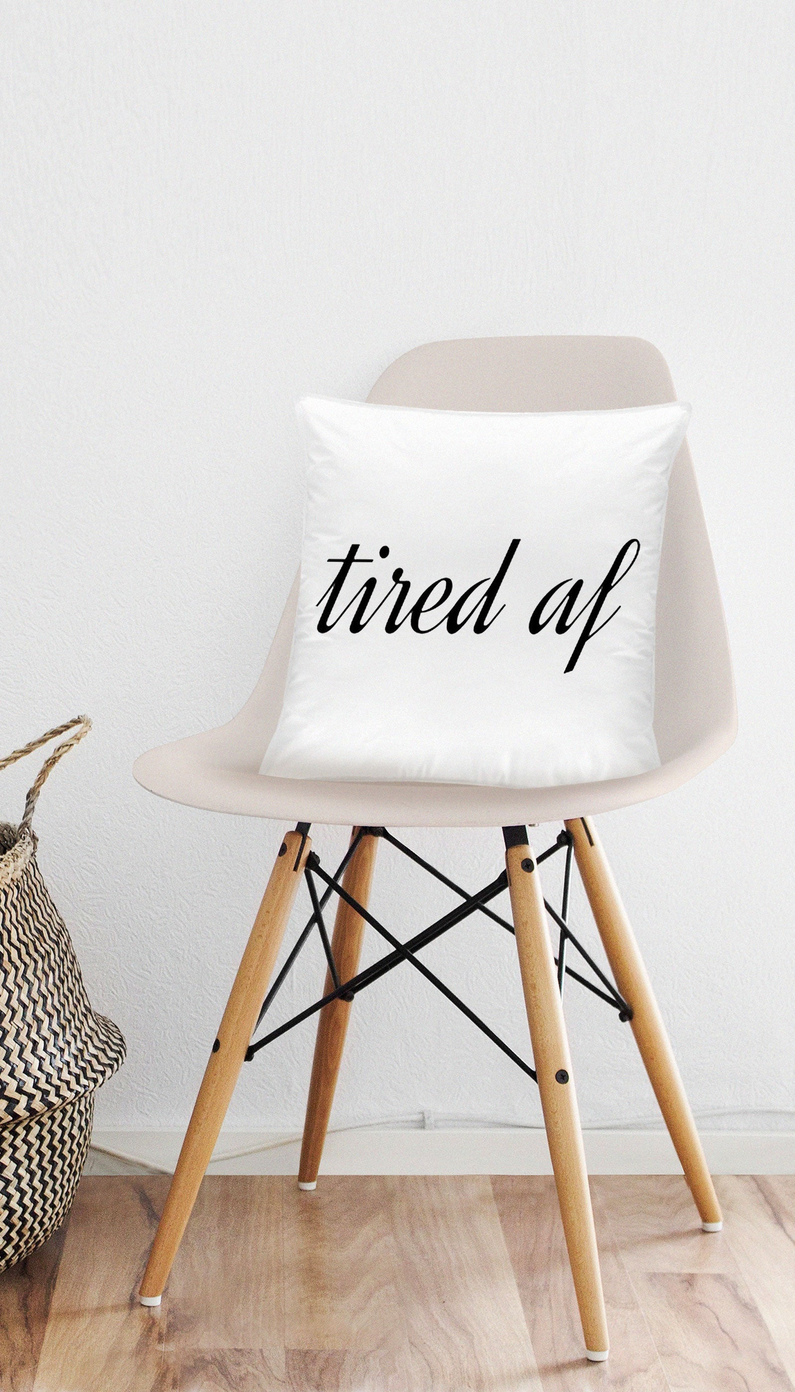 Tired As Fuck Funny & Clever Home Throw Pillow Gift | Sarcastic ME