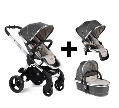 Peach Pram 2017 Double Bundle - Chrome Frame, Truffle (Grey) Fabric