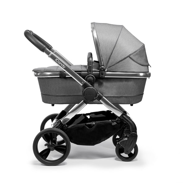 Peach Pram - Chrome Frame, Grey Twill Fabric