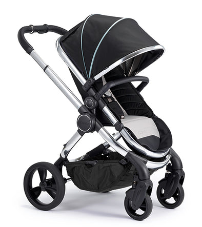 Peach Pram - Chrome Frame, Beluga (Black) Fabric
