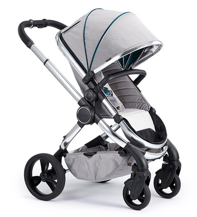 Peach Pram - Chrome Frame, Dove Grey Fabric