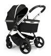 Peach Pram - Chrome Frame, Black Twill Fabric