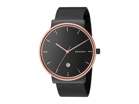Skagen Ancher Black Stainless Steel Mesh Bracelet Men's Watch SKW6296 - The Watches Men & Co - 1