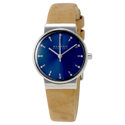 Skagen Ancher Blue Dial Brown Leather Ladies Watch SKW2191 - The Watches Men & Co - 1