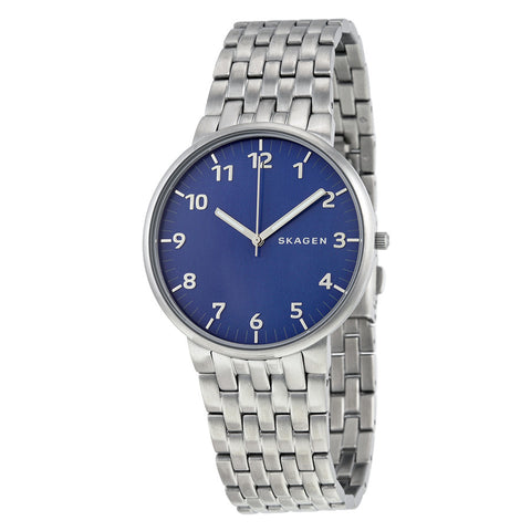 Skagen Ancher Blue Dial Stainless Steel Men's Watch SKW6201 - The Watches Men & Co - 1
