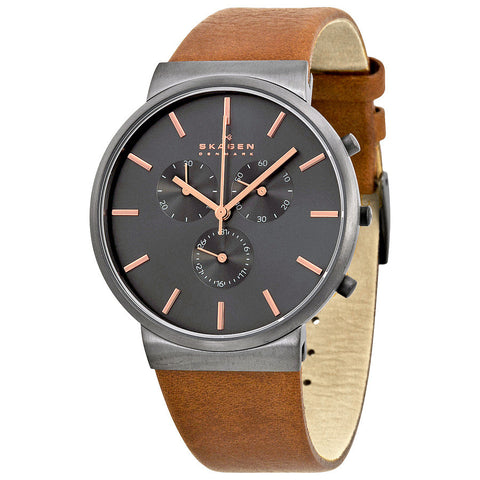 Skagen Ancher Chronograph Grey Dial Brown Leather Men's Watch SKW6106 - The Watches Men & Co - 1