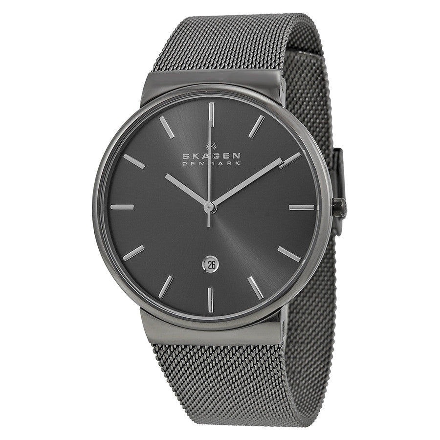 Skagen Ancher Grey Dial Grey Ion-plated Mesh Men's Watch SKW6108 - The Watches Men & Co - 1