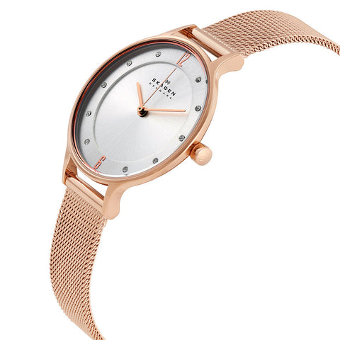 Skagen Anita Silver Dial Rose Gold-tone Ladies Watch SKW2151 - The Watches Men & Co - 2