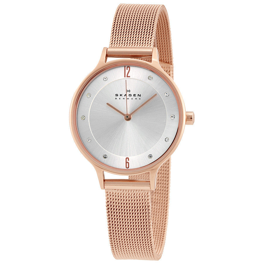 Skagen Anita Silver Dial Rose Gold-tone Ladies Watch SKW2151 - The Watches Men & Co - 1