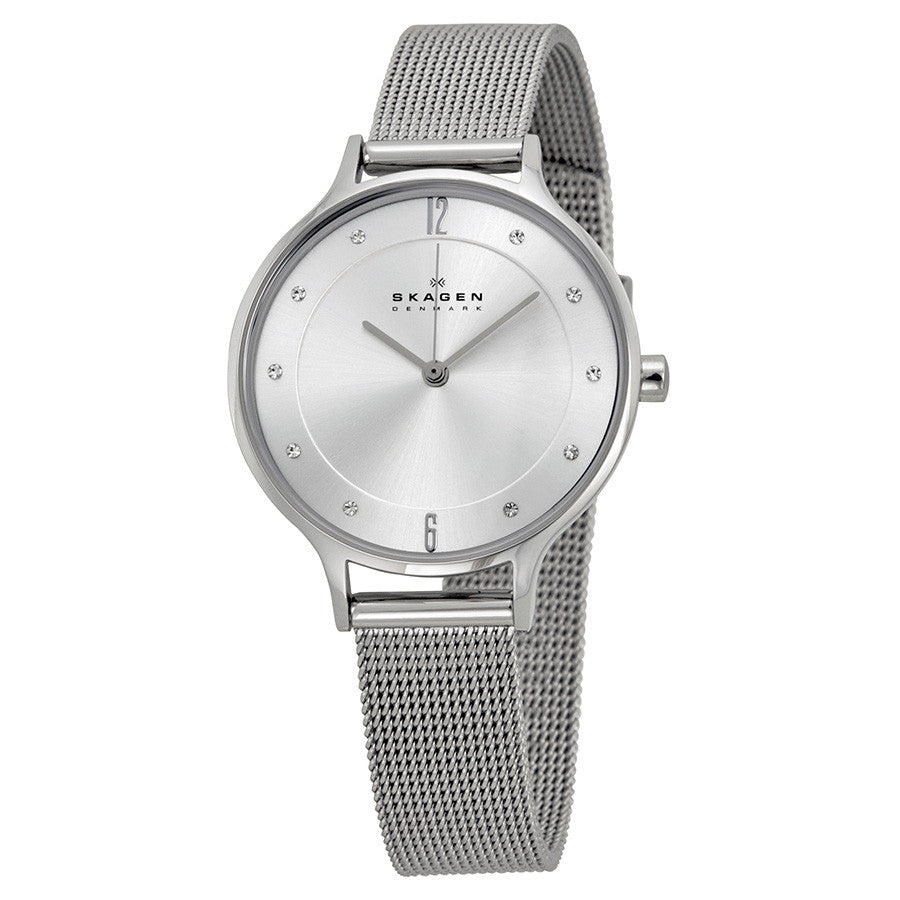 Skagen Anita Silver Dial Stainless Steel Mesh Ladies Watch SKW2149 - The Watches Men & Co - 1