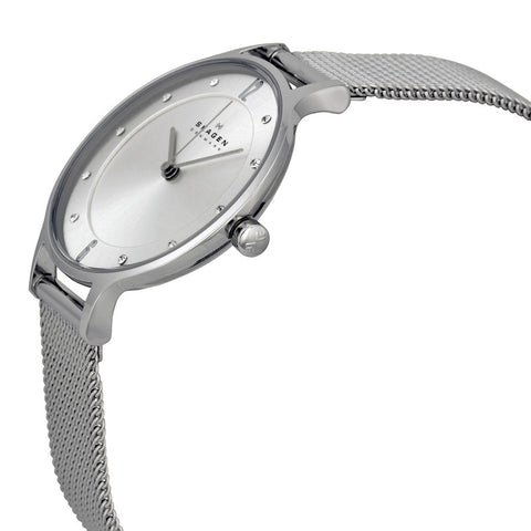 Skagen Anita Silver Dial Stainless Steel Mesh Ladies Watch SKW2149 - The Watches Men & Co - 2