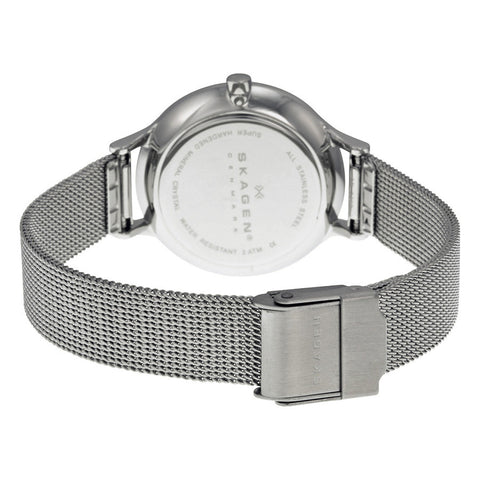 Skagen Anita Silver Dial Stainless Steel Mesh Ladies Watch SKW2149 - The Watches Men & Co - 3