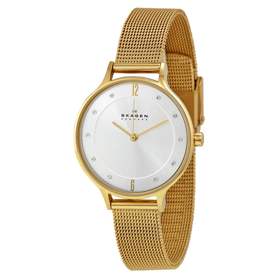 Skagen Anite Silver Dial Gold-tone Mesh Ladies Watch SKW2150 - The Watches Men & Co - 1