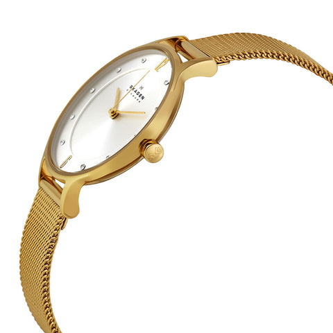 Skagen Anite Silver Dial Gold-tone Mesh Ladies Watch SKW2150 - The Watches Men & Co - 2