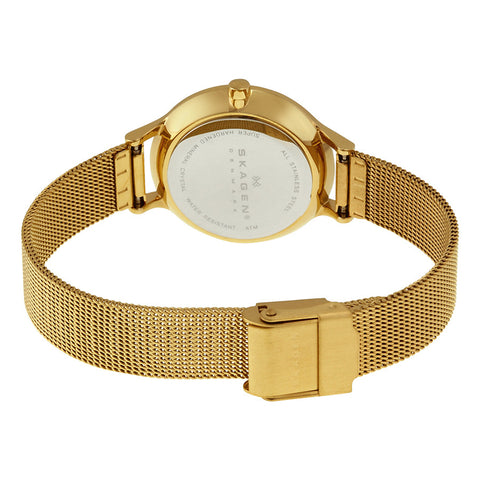 Skagen Anite Silver Dial Gold-tone Mesh Ladies Watch SKW2150 - The Watches Men & Co - 3
